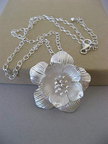 Sterling Silver Flower Necklace with Large Hill Tribe Pendant Adjustable Artisan Jewelry -