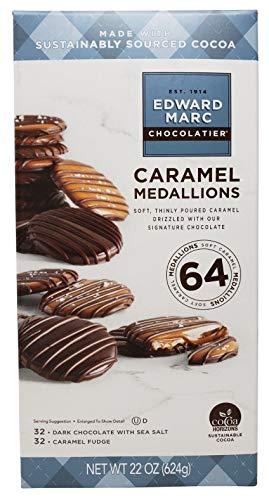 Edward Marc Caramel Medallions Dark Chocolate & Caramel Fudge 64 ct,Net 22 Oz