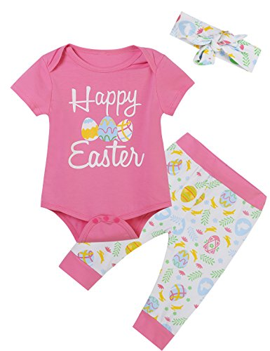Okbebe Happy Easter Baby Girls' Eggs Printed Outfit Set Romper Cute Pants With Headband (Pink, 12-18 Months)