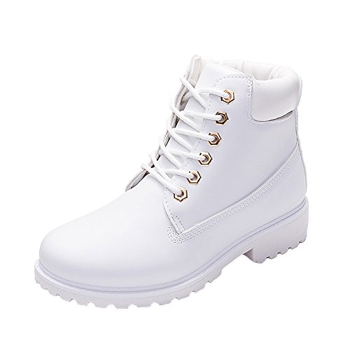 WUIWUIYU Men's Women's High-Top Lace Up Ankle Boots Combat Booties Outdoor Walking Hiking Trekking Shoes White US Women Size 6 M (High Top Boots)
