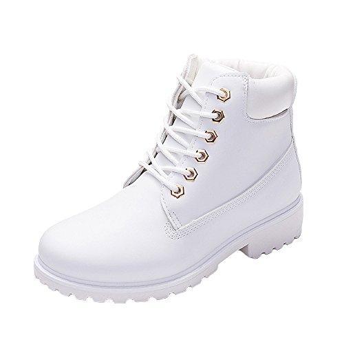 WUIWUIYU Men's Women's High-Top Lace Up Ankle Boots Combat Booties Outdoor Walking Hiking Trekking Shoes White US Women Size 7.5 M ()