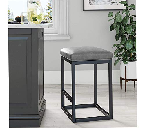 Nаthаn Jаmеs Deluxe Premium Collection Nelson Bar Stool with Leather Cushion and Metal Base 24