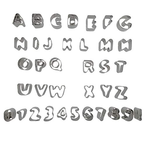 CSPRING 37PCS Metal Alphabet Number Symbol Shapes Cookie Cutters Cake Decorating Mould Fondant Tools Set