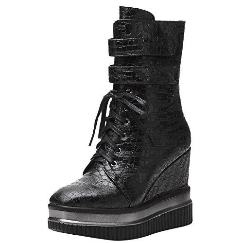 Carolbar Women's New Style Fashion High Heel Wedge Zip Platform Biker Boots Black IbVGDm