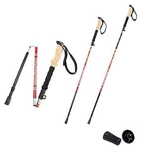 AYUE® - 2 Paquetes con Sistema Antishock y Quick Lock, Telescópico, Plegable, Ultraligero para Excursionismo, Camping, Montañismo, Mochilero, Caminar, Trekking