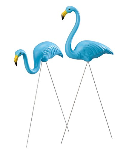 - Set of 2 Union Products Original Featherstone Flamingos - Decorative, Iconic, Blue Lawn Decor Ideal for Lawn, Garden, Flower Beds and Campsites - Weather-Resistant Plastic/Galvanized Metal