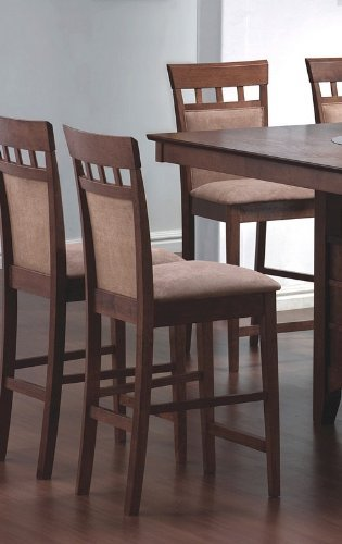 Set of 2 Contemporary Walnut Finish Counter Height Stools (24' Residential Ladder)
