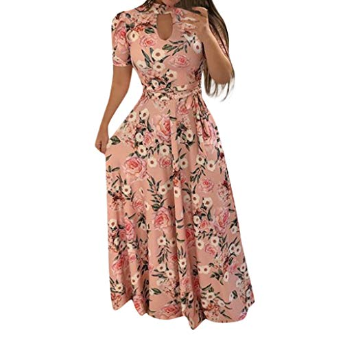 (Women Summer Holiday Dress,Qingell Fashion Short Sleeve Turtleneck Cutout Bohemia Printed Long Dress 2019)