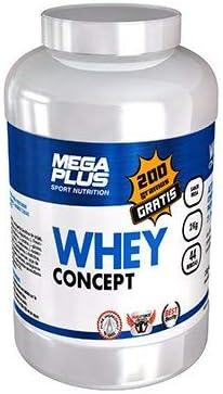 MEGA PLUS WHEY CONCEPT - Complemento alimenticio concentrado 100% de proteína de suero de leche Whey - Chocolate, 2Kg