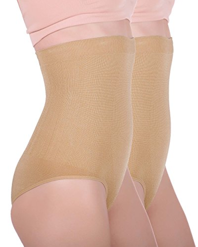 Women's Hi-waist Seamless Firm Control Tummy Slimming Shapewear Panties (Large, Nude (2 pack))
