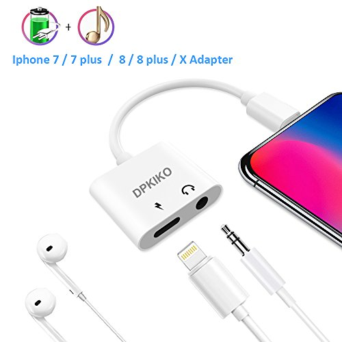 Iphone 7/8/X Adapter, Lightning to Headphone Jack Adapter, DPKIKO Iphone Aux Adapter Audio & Charge Cable Connector Charger Splitter for Iphone X/8/8 Plus/7/7 Plus For Sale