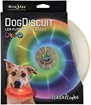 Nite Ize Flashflight LED Dog Discuit - Best Dog Flying Disc For All Hours of Play - With Long-Lasting LED Ligh