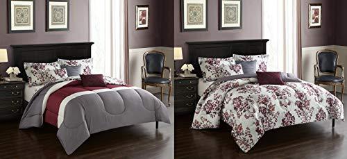 Casa Rebecca Reversible Comforter, King, Burgundy, Gray, White