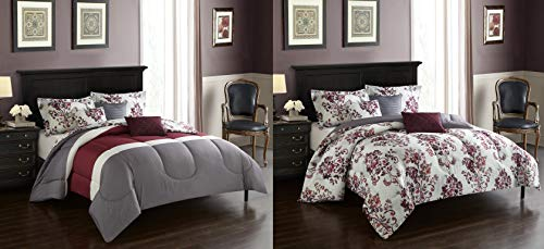 Casa Rebecca Reversible Comforter, King, Burgundy, Gray, ()