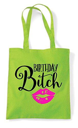 Bag Birthday Shopper Lime Tote Bitch Kisses B1qvt
