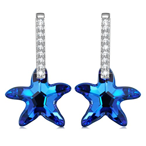 rovski Crystals Sea Star Stud Drop Hypoallergenic Earrings Gifts for Women Valentine Gifts for Her Ladies Gift ()