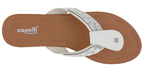 Capelli New York Ladies Flip Flops Faux Leather Gem Thong White cTP6r1UXEf