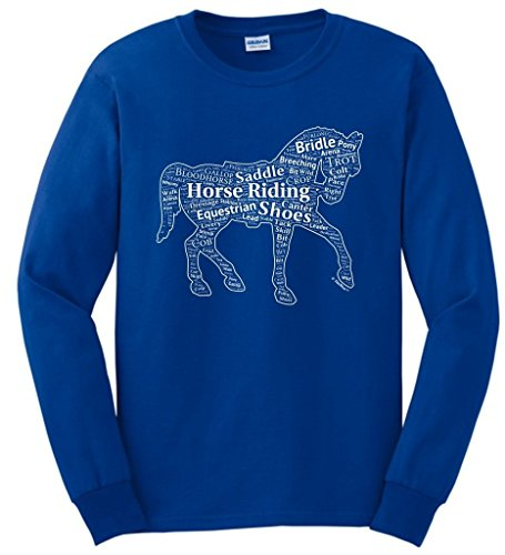 Birthday Gift for Equestrian Horseback Word Collage Equestrian Horse Gift Long Sleeve T-Shirt Large Royal