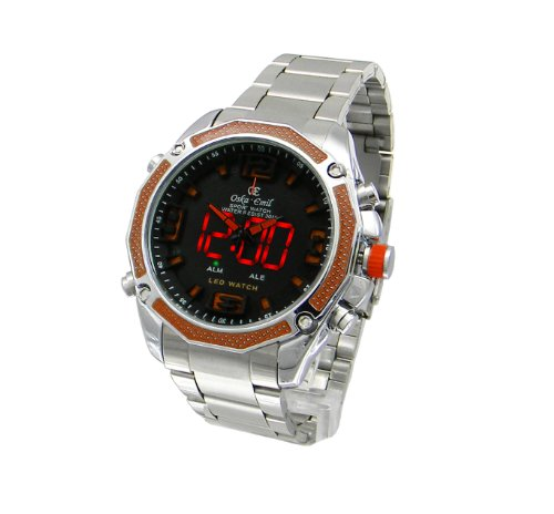 Mens Oskar Emil Accent Dual Time Digital-Analogue Steel Sports Watch (Orange)