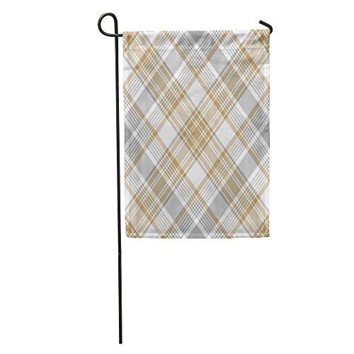 (zhurunshangmaoGYS Garden Flag Beige Plaid Platinum Gold Tartan Diagonal Gray Stripes Abstract Check Home Yard House Decor Barnner Outdoor Stand 12x18 Inches Flag)