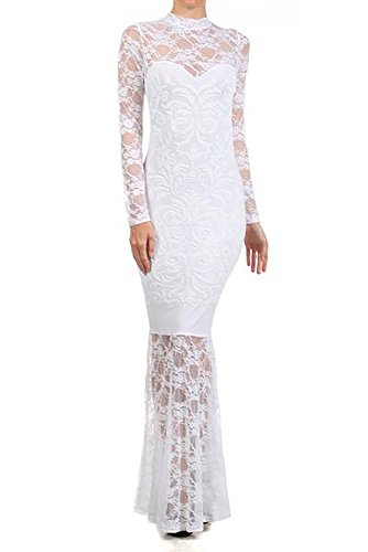 Floral Lace Sequin Embellished Mermaid Skirt Long Sleeve Wedding Gown With Hi Neck and Button Closure, White, Size Medium (Medium)