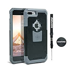 Rokform iPhone 7 PLUS Rugged Series Dual Compound Protective Phone Case with Patented twist lock mount and universal magnetic car mount (Black/Gun Metal)