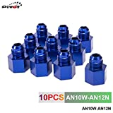 10pcs Blue 12AN Female to 10AN Male Flare Reducer Aluminum Oil/Fuel Fitting Adapter AN10W-AN12N