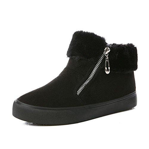 [RSWHYY] レディース ブーツ 靴 裏起毛 厚手 保温 ショート 韓国スタイル 学生スタイル サイドファスナー