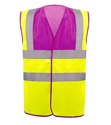 Safety Vest Reflective stripes Safety knitted Vest Bright Construction Workwear for men and women. (Large, - Peach Wear