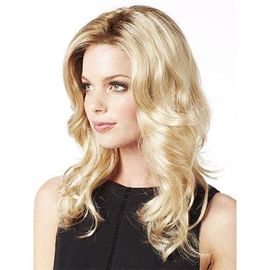 OOFAY JF® sin tapa larga de las mujeres elegantes chica natural y saludable onda del pelo rizado pelucas rubias , blonde: Amazon.es: Deportes y aire libre