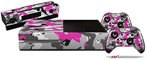 Sexy Girl Silhouette Camo Hot Pink Fuschia - Holiday Bundle Decal Style Skin Set fits XBOX One Console, Kinect and 2 Controllers (XBOX SYSTEM SOLD SEPARATELY)