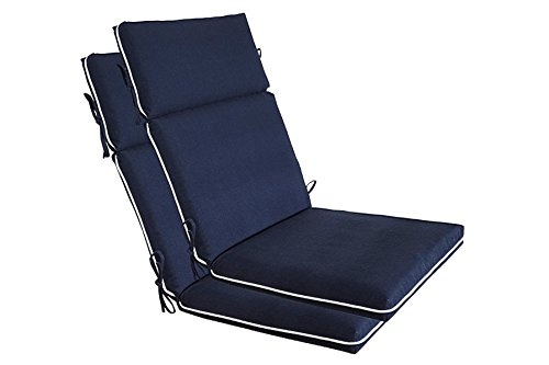 Bossima Indoor/Outdoor Navy Blue High Back Chair Cushion, Spring/Summer Seasonal Replacement Cushions.Set of 2, - Adirondack Rocker Seat Cushion