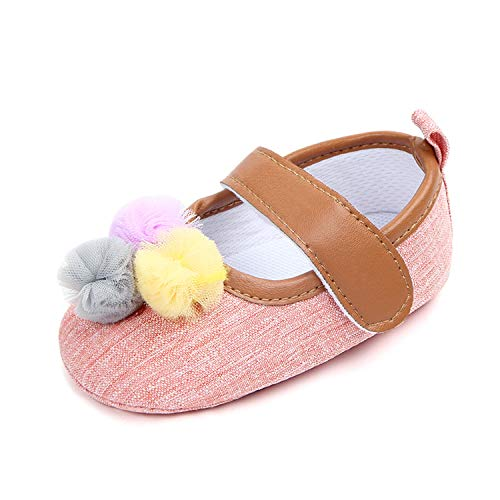 ZZmeet Baby Girl Prewalker Shoes Infant Dress Shoes Newborn Girl pre Walking Shoes Cute Fur Ball Baby Shoes,Pink,7-12 Months