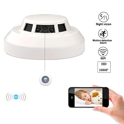 Spy Hidden Camera, ZDMYING WiFi Smoke Detector Camera HD 1080, with Night Vision Motion Detection Loop Recording Alarm Mini Video Recorder Surveillance, Nanny Cam Support iPhone Android and PC