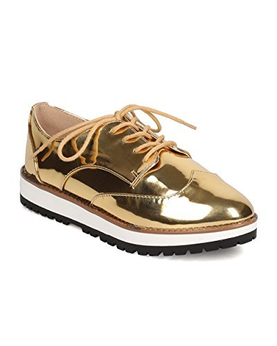 - Qupid Women Metallic Leatherette Lace Up Spectator Loafer FD75 - Gold (Size: 8.5)