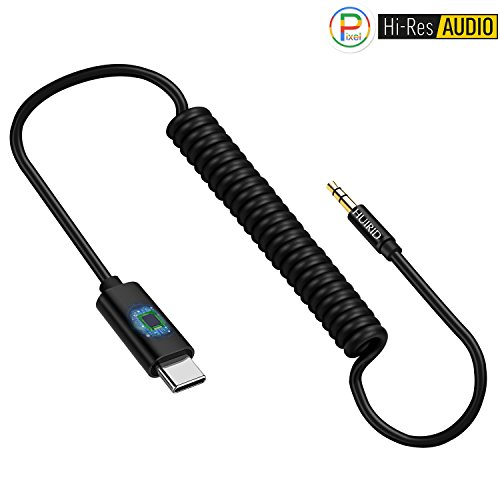 Pixel 2 Type C Aux Cable for Car, HUIRID Type C to 3.5mm Audio Stereo Jack Adapter with Realtek Chip/Hi-res 6.5ft Spring Extension Aux Cord for Google Pixel 2/HTC U/Moto Z and All USB C Port Devices ()