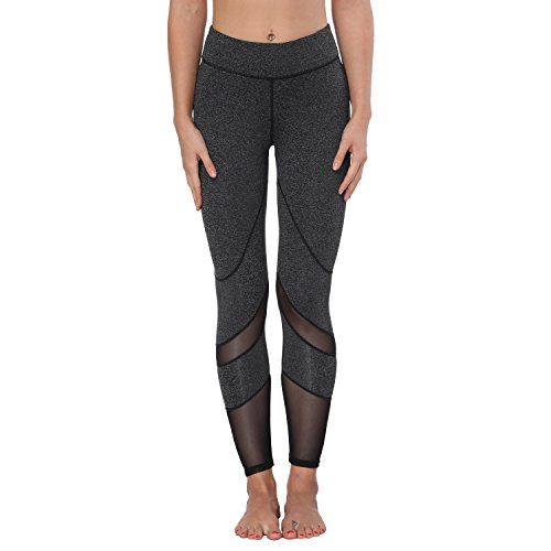 Yoga Pants, FEIVO Women's Power Flex Yoga Pants Tummy Control Workout Yoga Capris Pants Leggings,Mesh-deep Grey,Medium