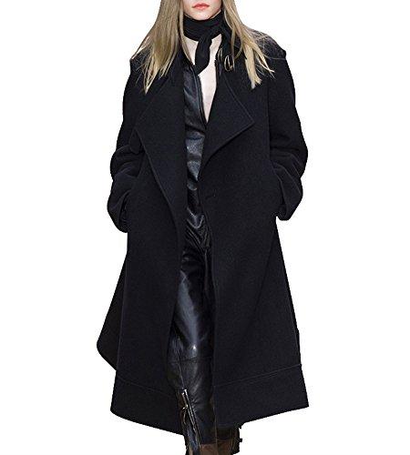 Hego Women's 2016 Winter Black Turn-down Collar Long Wool Coat H2942 (S, Black)