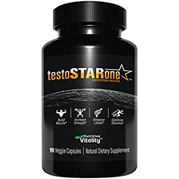 Nutritive Vitality testo-STAR-one - Natural Testosterone Booster - 90 Veggie Capsules - Fast Acting Supplement with Tribulus - Builds Muscle, Increases Strength, Boosts Libido, Vitality and Stamina