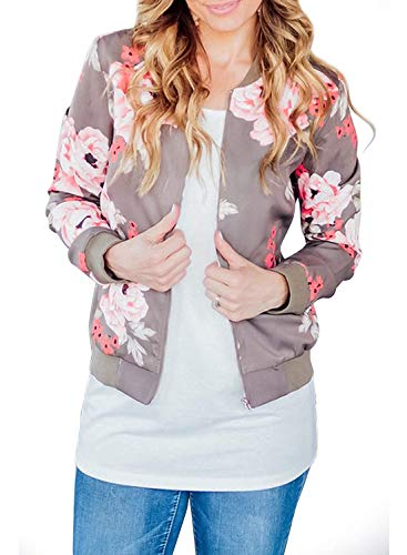 Jacket Nylon Bomber Quilted (ZESICA Women's Long Sleeve Floral Print Classic Quilted Short Bomber Jacket with Pockets)