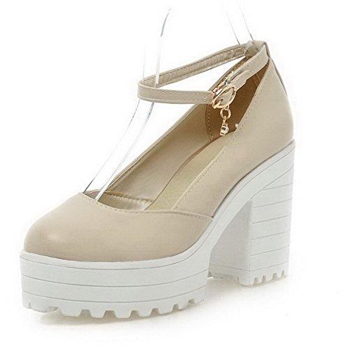 AllhqFashion Damen Schnalle Rund Zehe PU Leder Hoher Absatz Rein Pumps Schuhe Aprikosen Farbe