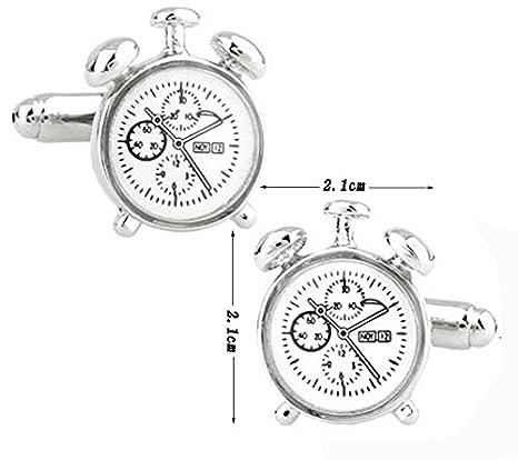 Hosaire Gemelos del Reloj de Alarma - Tamaño 2.1X2.1cm. Gemelos Camisa Acero Inoxidable Color Plata: Amazon.es: Hogar