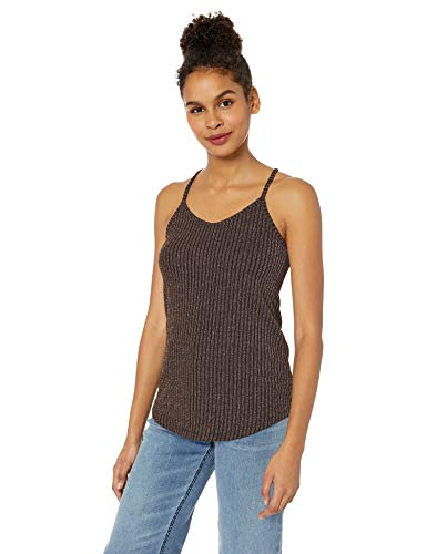 (Angie Women's Rib Knit Cami with Sparkle Threads, Bronze Large)