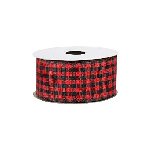 Black Red Gingham Wired Ribbon - 1 1/2