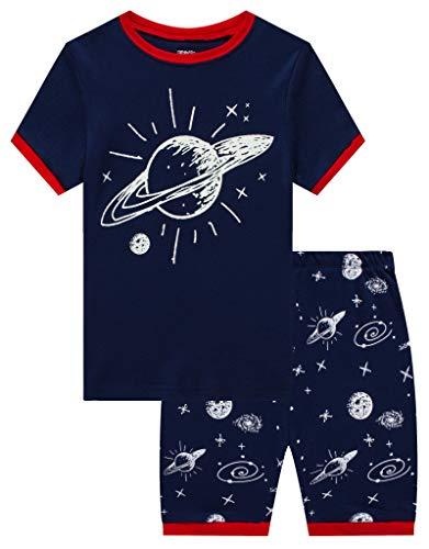 Space Little Boys Short Sleeve Pajamas 100% Cotton Pjs Size 7