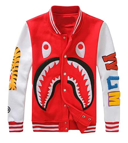 - APE TEES Men's Sharks Head Casual Baseball Sweatshirts Jackets Red
