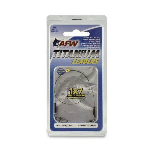 American Fishing Wire Titanium Multi Strand Leader, Black, 30 Pound Test, 12-Inch ()