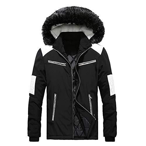 - iLXHD Fashion Men's Faux Fur Collar Hoodied Warm Fleece Lined Down Jackets and Coats