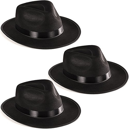 Mafia Girl Costumes (Black Fedora Gangster Hat Costume Accessory - Pack of 3)