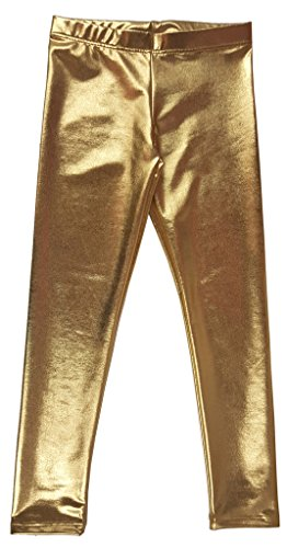 Popular Big Girl's Metallic Ankle Length Leggings - Gold - 10